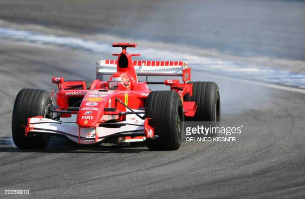 German Ferrari driver Michael Schumacher drives at the Interlagos racetrack in Sao Paulo 22 October 2006 during the Brazilian Formula One Grand Prix...