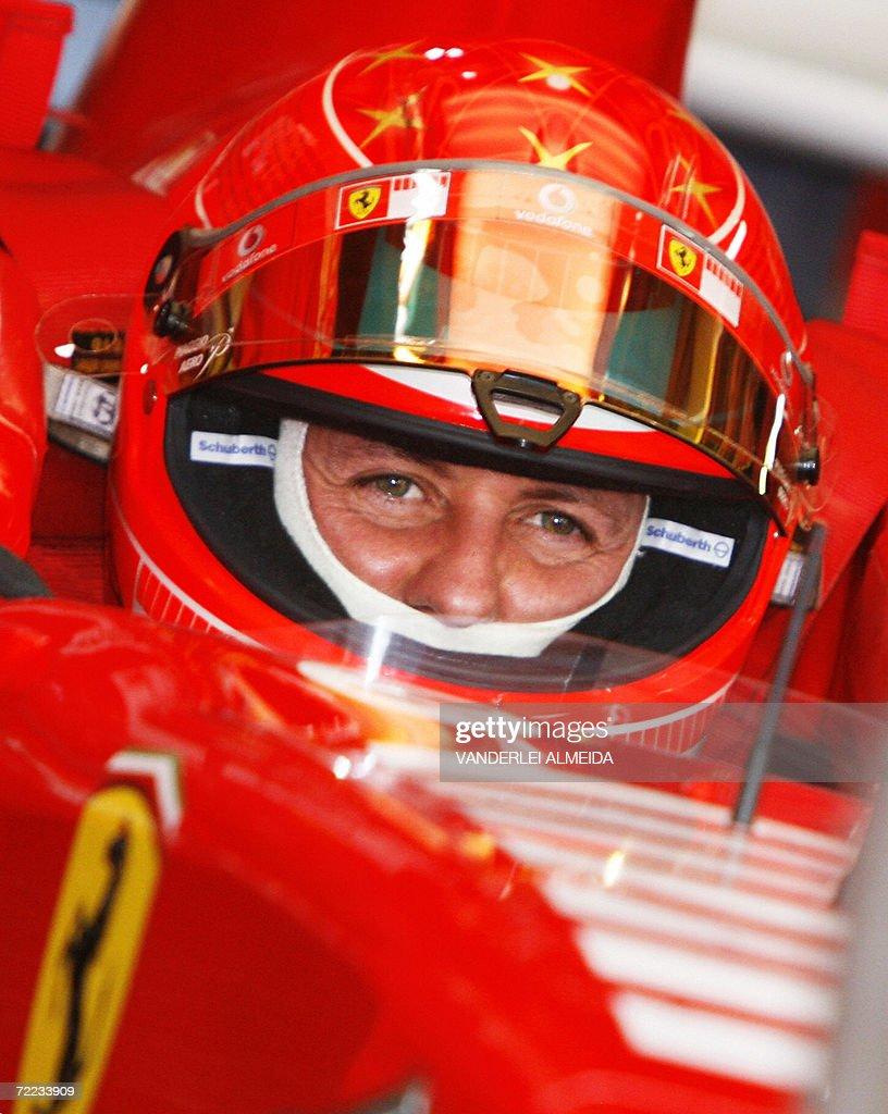 German Ferrari driver Michael Schumacher : News Photo