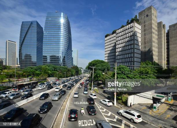 Sao Paulo, Brazil - intense morning traffic at President Juscelino Kubitschek avenue - Itaim Bibi district