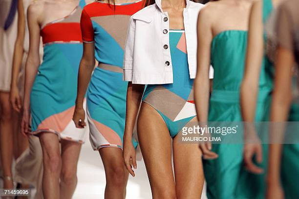 Models presents outfits by Patachou during 2007 SpringSummer collection of Sao Paulo Fashion Week in Sao Paulo Brazil 16 July 2006 AFP PHOTO/Mauricio...