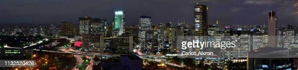 sao paulo, brazil - modern skyline of business districts vila olimpia, itaim-bibi and marginal pinheiros - carlos alkmin stock pictures, royalty-free photos & images