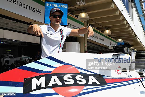 Sao Paulo, Brazil – November 10, 2016: Retiring Brazilian Formula One driver Felipe Massa of Brazil and Williams was emotional today when Williams...