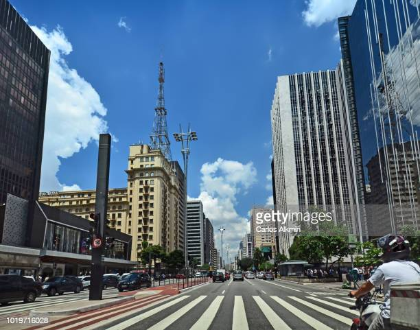Sao Paulo, Brazil - Perspective of Paulista Avenue / Paulista Avenue on a sunny day