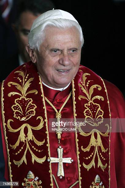 Pope Benedict XVI leaves the Bandeirantes Palace after meeting Brazilian President Luiz Inacio Lula da Silva and Sao Paulo state Governor Jose Serra...