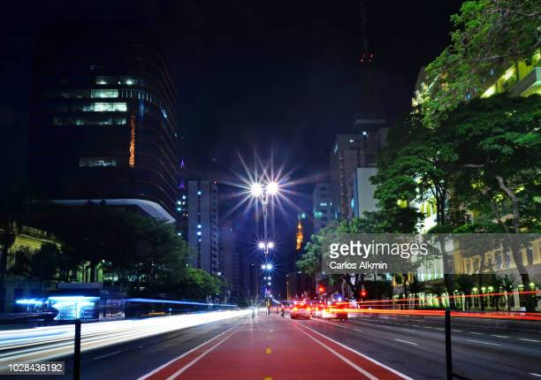 Sao Paulo, Brazil - right in the middle of Paulista Avenue at night - bicycle path