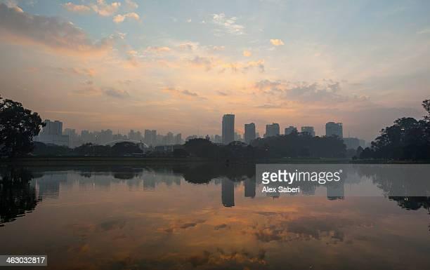 sao paulo cityscape reflected in the lake at ibirapuera park at sunrise. - alex saberi fotografías e imágenes de stock