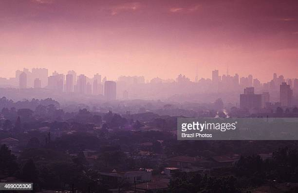 Sao Paulo cityscape showing air pollution and skyline of the city during sunset Brazil