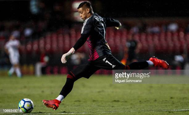 Sao Paulo goalkeeper Jean kicks the ball during a match between Sao Paulo and Cruzeiro for the Brasileirao Series A 2018 at at Morumbi Stadium on...
