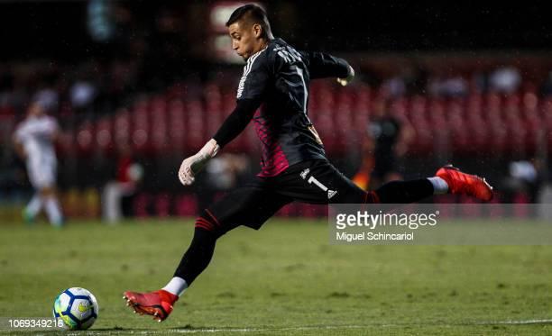 Sao Paulo goalkeeper Jean kicks the ball during a match between Sao Paulo and Cruzeiro for the Brasileirao Series A 2018 at at Morumbi Stadium on...