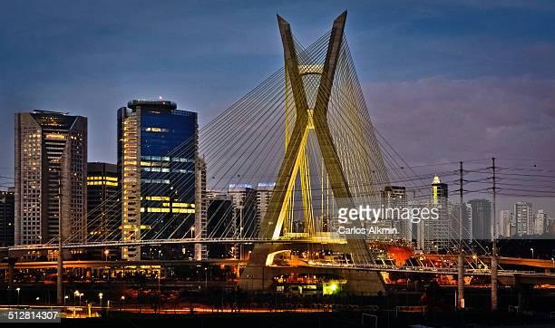 Sao Paulo modern skyline and Cable-stayed bridge