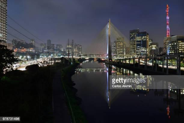 Sao Paulo modern skyline - Marginal Pinheiros and Ponte Estaiada Octavio Frias de Oliveira