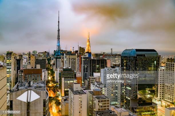 Sao Paulo skyline with radio antenna