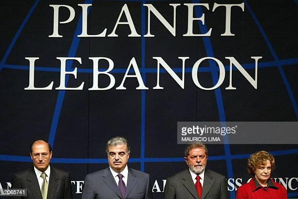 Sao Paulo's Governor Geraldo Alkmin Lebanon's Prime Minister Rafik Hariri Brazilian President Luiz Inacio Lula da Silva and First Lady Marisa da...