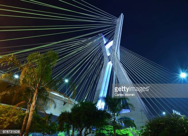 Sao Paulo's landmark - the X-shaped concrete mast of Ponte Estaiada