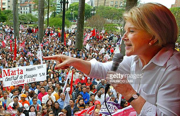 Sao Paulo's mayor and candidate for reelection Marta Suplicy of the Workers' Party delivers a speech for hundreds of supporters during a rally at...