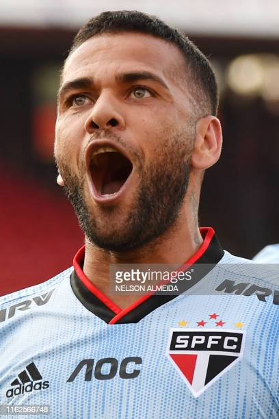 Sao Paulo's player Dani Alves celebrates after scoring against Ceara during their Brazilian Championship at Morumbi stadium in Sao Paulo, Brazil, on...