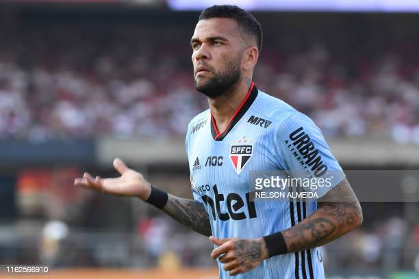 Sao Paulo's player Dani Alves gestures during the Brazilian Championship football match against Ceara at Morumbi stadium in Sao Paulo Brazil on...