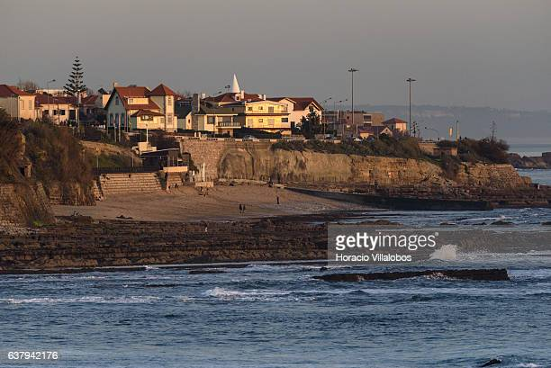 Sao Pedro do Estoril seen at dusk from Ponta do Sal on January 07 2017 in Cascais Portugal Ponta do Sala is favored by locals and tourists who wish...