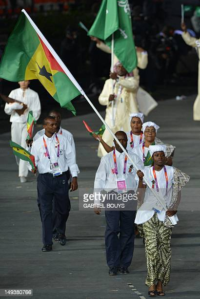 Sao Tome and Principe's flagbearer Lecabela Quaresma leads her delegation during the opening ceremony of the London 2012 Olympic Games on July 27...