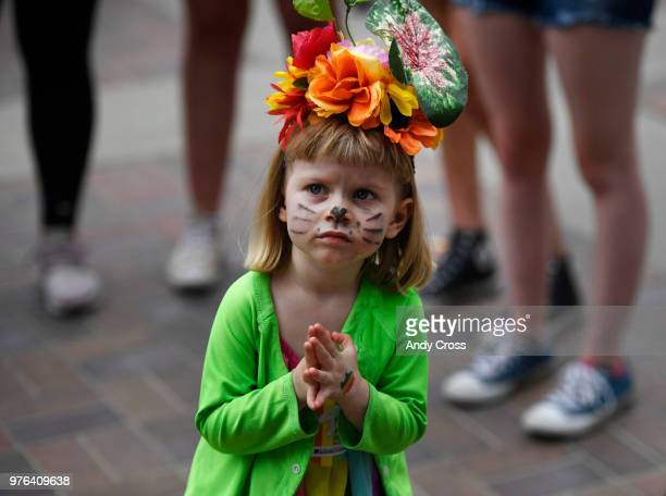 Saoirse Fritz gets a look up to the main stage in Civic Center Park for Denver's PrideFest at Civic Center Park June 16 2018