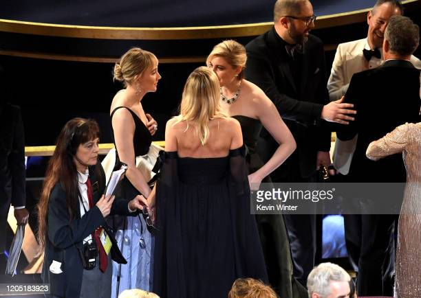 Saoirse Ronan and Greta Gerwig attend the 92nd Annual Academy Awards at Dolby Theatre on February 09, 2020 in Hollywood, California.