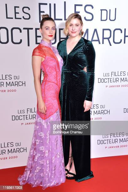 "Saoirse Ronan and Greta Gerwig attend the ""Little Women"" Premiere on December 12, 2019 in Paris, France."