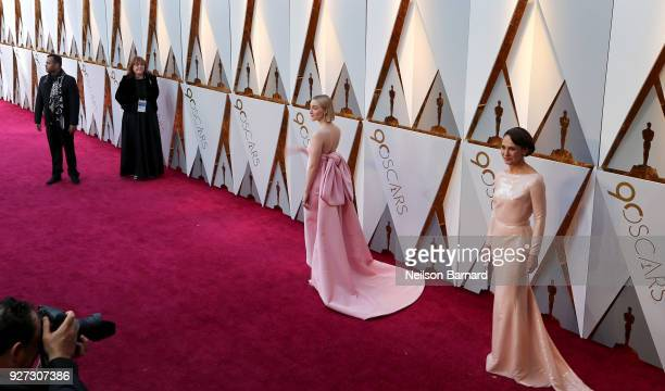 Saoirse Ronan and Laurie Metcalf attend the 90th Annual Academy Awards at Hollywood Highland Center on March 4 2018 in Hollywood California