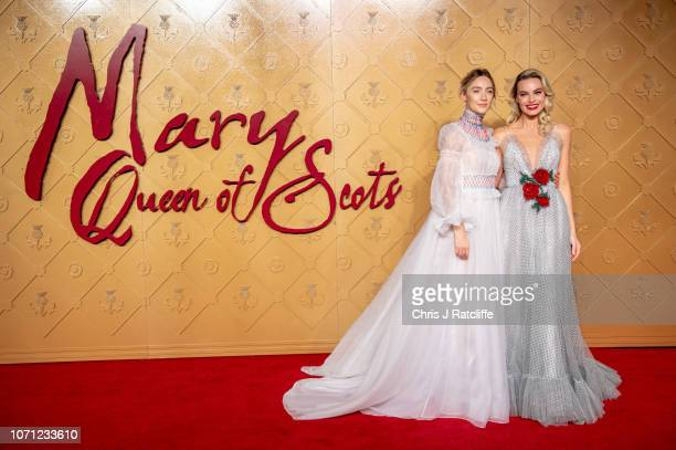 Saoirse Ronan and Margot Robbie attend the World Premiere of 'Mary Queen of Scots' at Cineworld Leicester Square on December 10 2018 in London England