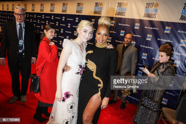 Saoirse Ronan and Mary J Blige attend the 2017 IFP Gotham Awards at Cipriani Wall Street on November 27 2017 in New York NY