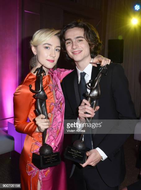 Saoirse Ronan and Timothee Chalamet attend the 29th Annual Palm Springs International Film Festival at Parker Palm Springs on January 2 2018 in Palm...
