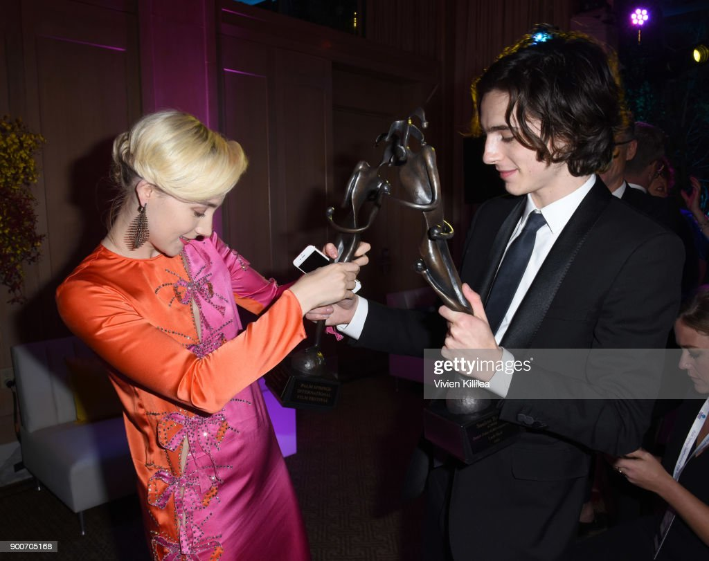 Saoirse Ronan and Timothee Chalamet attend the 29th Annual Palm Springs International Film Festival at Parker Palm Springs on January 2, 2018 in Palm Springs, California.