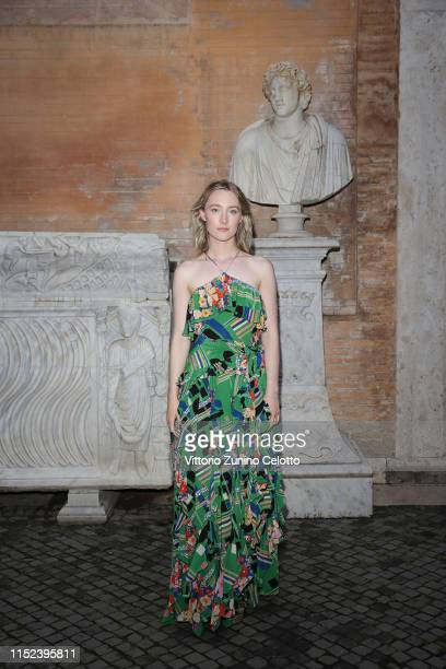 Saoirse Ronan arrives at the Gucci Cruise 2020 at Musei Capitolini on May 28 2019 in Rome Italy