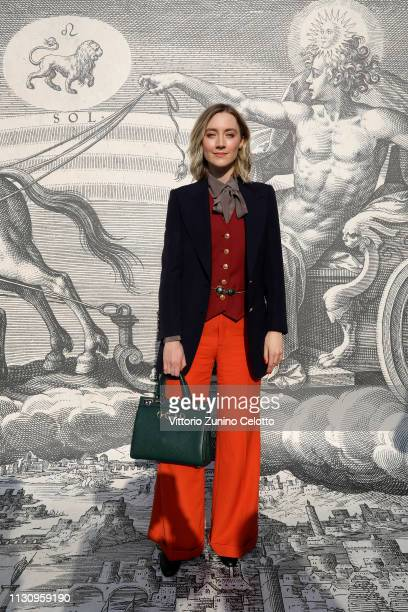 Saoirse Ronan arrives at the Gucci show during Milan Fashion Week Autumn/Winter 2019/20 on February 20 2019 in Milan Italy