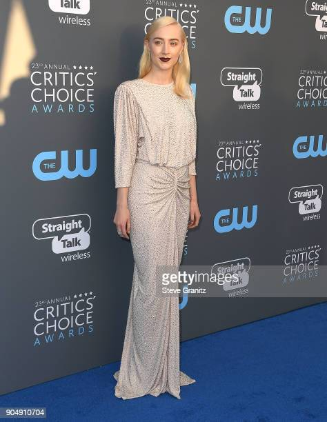 Saoirse Ronan arrives at the The 23rd Annual Critics' Choice Awards at Barker Hangar on January 11 2018 in Santa Monica California