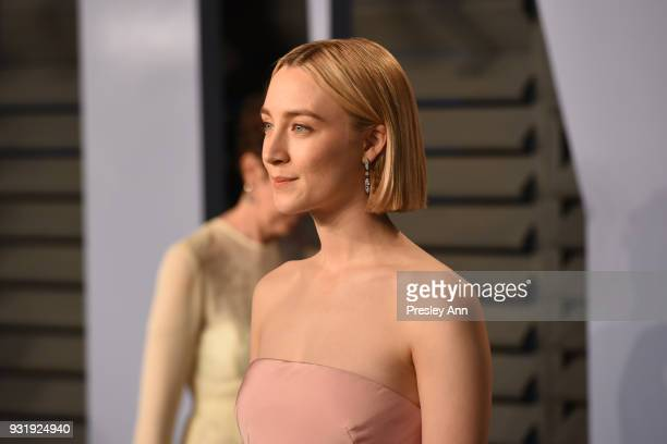 Saoirse Ronan attends the 2018 Vanity Fair Oscar Party Hosted By Radhika Jones Arrivals at Wallis Annenberg Center for the Performing Arts on March 4...