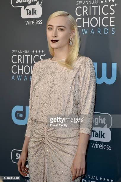 Saoirse Ronan attends The 23rd Annual Critics' Choice Awards Arrivals at The Barker Hanger on January 11 2018 in Santa Monica California