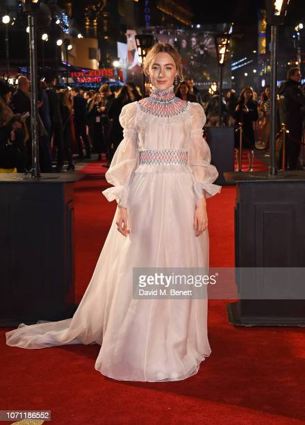 """Saoirse Ronan attends the European Premiere of """"Mary Queen Of Scots"""" at Cineworld Leicester Square on December 10, 2018 in London, England."""