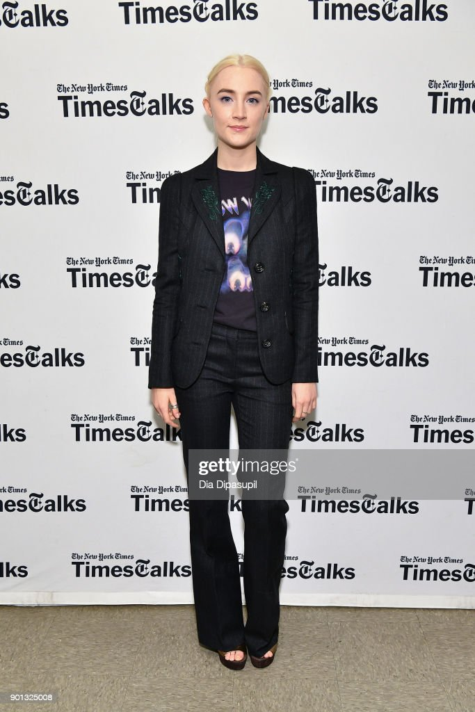 Saoirse Ronan attends TimesTalks Presents Greta Gerwig and Saoirse Ronan at Merkin Concert Hall at Kaufman Music Center on January 4, 2018 in New York City.