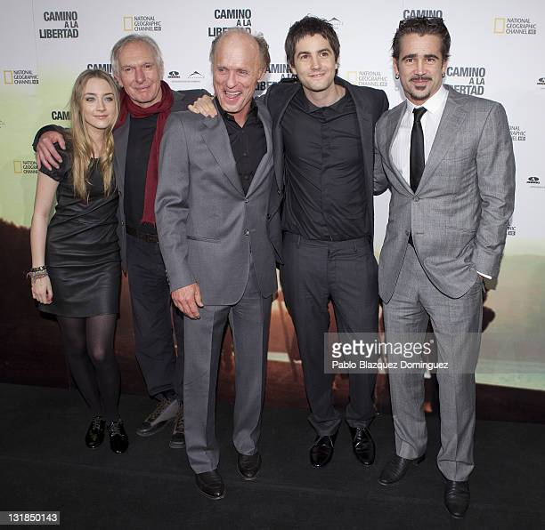 Saoirse Ronan Director Peter Weir Ed Harris Jim Sturgess and Colin Farrell attend The Way Back premiere at Capitol Cinema on December 9 2010 in...