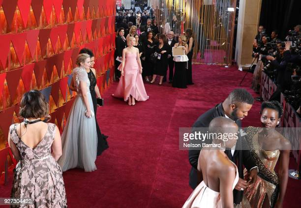 Saoirse Ronan Emily Blunt Lupita Nyong'o Winston Duke and Danai Gurira attend the 90th Annual Academy Awards at Hollywood Highland Center on March 4...