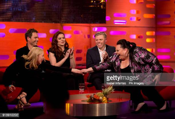 Saoirse Ronan Eric McCormack Debra Messing Rob Beckett and Keala Settle during filming of the Graham Norton Show at The London Studios to be aired on...