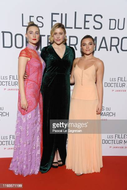 Saoirse Ronan Greta Gerwig and Florence Pugh attend the Little Women Premiere on December 12 2019 in Paris France