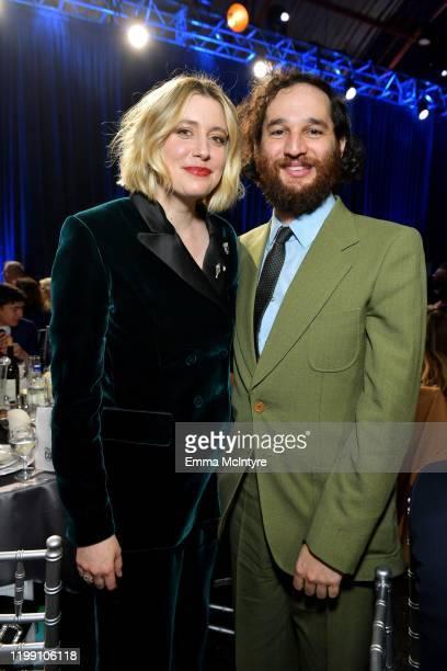 Saoirse Ronan Greta Gerwig and Josh Safdie attend the 25th Annual Critics' Choice Awards at Barker Hangar on January 12 2020 in Santa Monica...