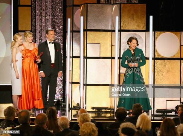 Saoirse Ronan Greta Gerwig and Laurie Metcalf speak onstage during AARP The Magazine's 17th Annual Movies For Grownups Awards at the Beverly Wilshire...