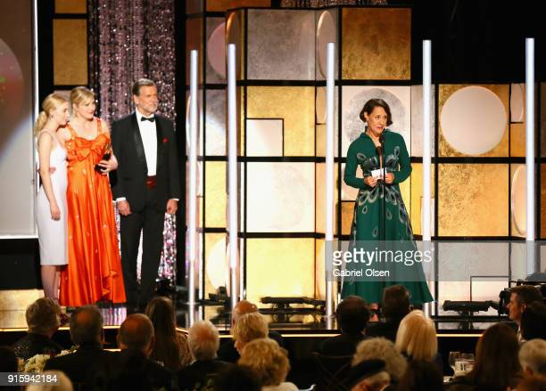 Saoirse Ronan Greta Gerwig and Laurie Metcalf speak onstage during AARP's 17th Annual Movies For Grownups Awards at the Beverly Wilshire Four Seasons...