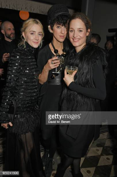 Saoirse Ronan guest and Vicky Krieps attend the Grey Goose 2018 BAFTA Awards after party on February 18 2018 in London England