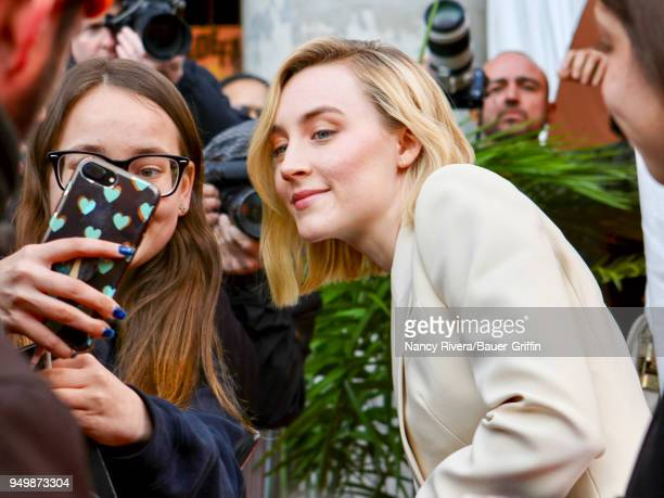 Saoirse Ronan is seen attending 'The Seagull' premiere during the 2018 Tribeca Film Festival at BMCC Tribeca PAC on April 21 2018 in New York City