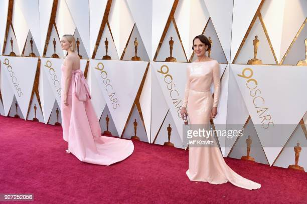 Saoirse Ronan Laurie Metcalf attend the 90th Annual Academy Awards at Hollywood Highland Center on March 4 2018 in Hollywood California