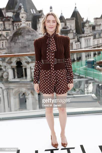 "Saoirse Ronan poses at a morning photocall for ""Little Women"" at the Corinthia Hotel London on December 16, 2019 in London, England."