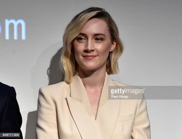 Saoirse Ronan speaks onstage at 'The Seagull' premiere during the 2018 Tribeca Film Festival at BMCC Tribeca PAC on April 21 2018 in New York City